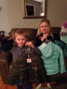 We have our Coats for Kids program where we provide coats for kids who cannot afford winter coats. These two took their Christmas money and bought coats for our program.